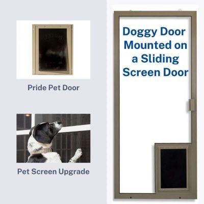 Product image of doggy door mounted to sliding screen door